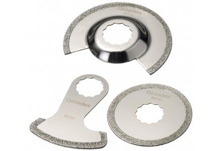 Qblades SC48 multitool zaagbladenset Steen en Beton 3-delig Diamant (Supercut)