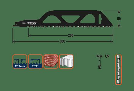 Rotec reciprozaagblad RC810 voor bouwstenen