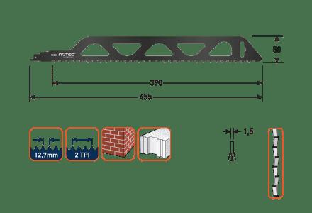 Rotec reciprozaagblad RC820 voor bouwstenen