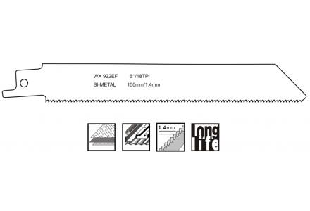 Reciprozaagbladen voor staal (1,5-4mm) 150mm - 5 stuks