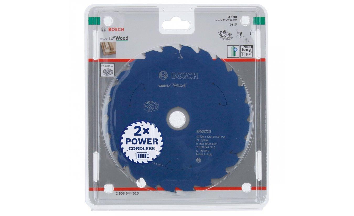 Bosch cirkelzaagblad voor accuzagen 190x30x24 T Expert for Wood
